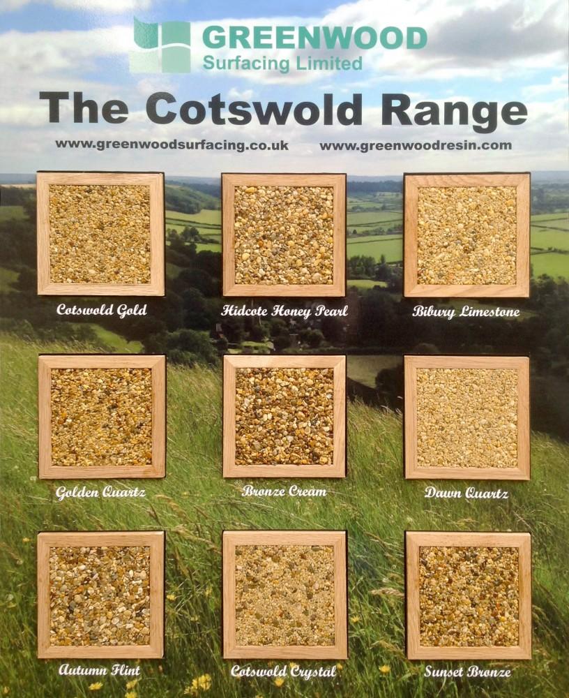 Resin driveway Cotswold sample board