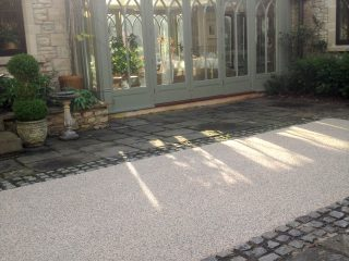 Resin pathway applied between existing surfaces