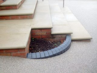 Resin surface applied around based of slabbed steps
