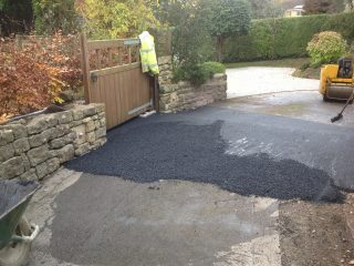 Existing drive being prepared with new tarmac prior to final resin surface