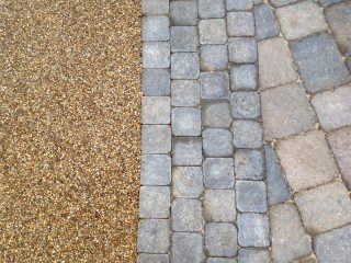 Resin surfacing and block paving together