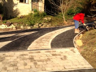 Tidying the edges of the new driveway