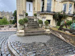 Grouting Cobble Driveway
